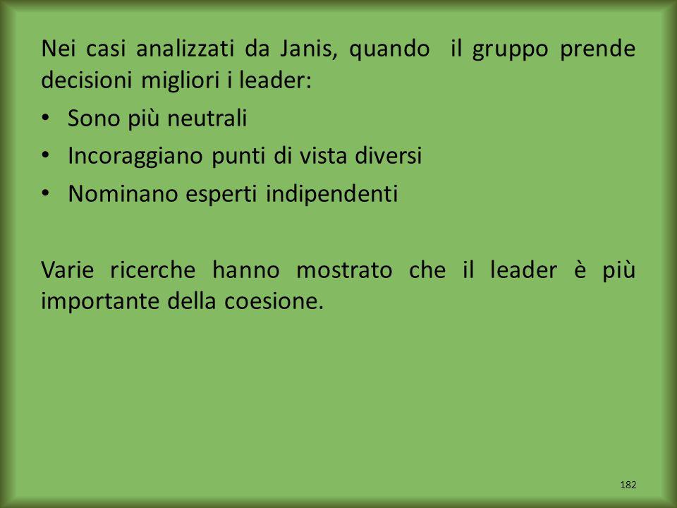 Nei casi analizzati da Janis, quando il gruppo prende decisioni migliori i leader: