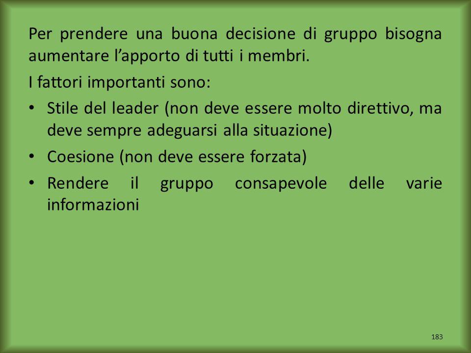 Per prendere una buona decisione di gruppo bisogna aumentare l'apporto di tutti i membri.