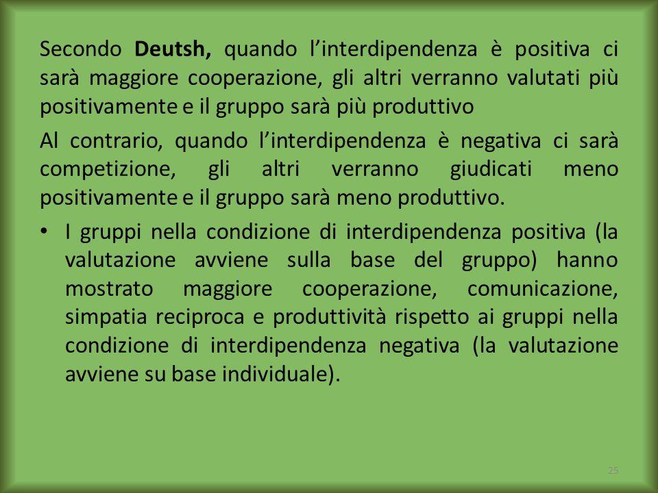 Secondo Deutsh, quando l'interdipendenza è positiva ci sarà maggiore cooperazione, gli altri verranno valutati più positivamente e il gruppo sarà più produttivo