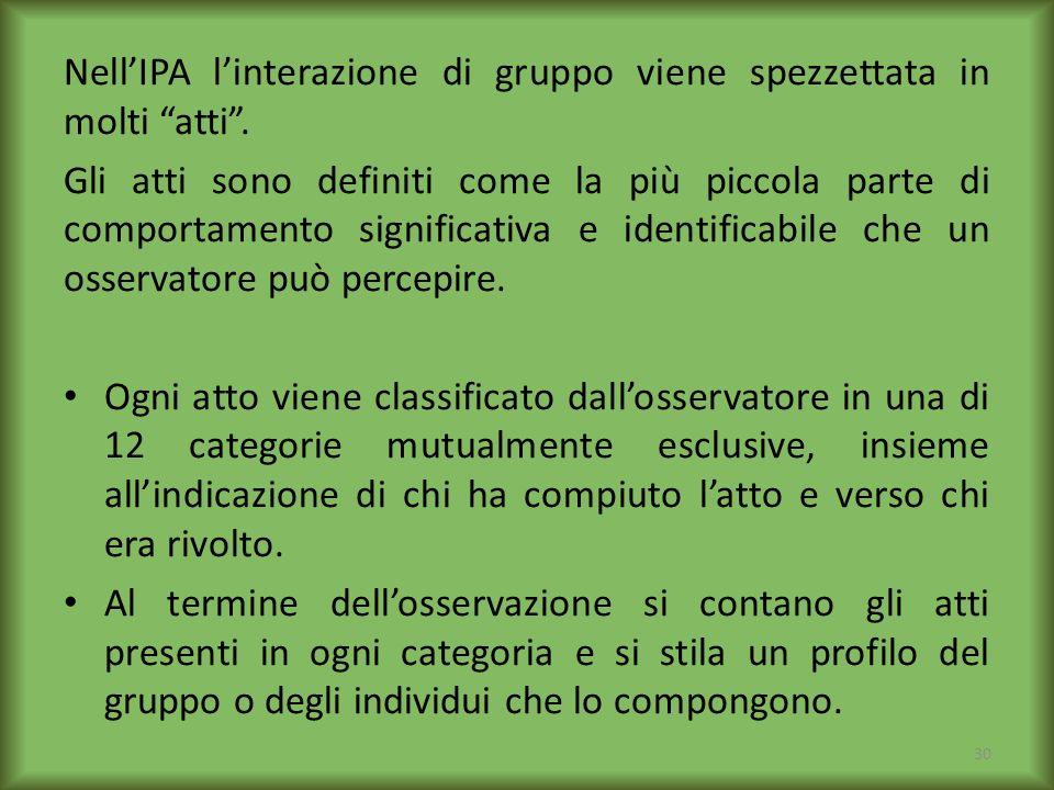 Nell'IPA l'interazione di gruppo viene spezzettata in molti atti .
