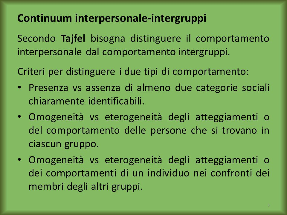 Continuum interpersonale-intergruppi