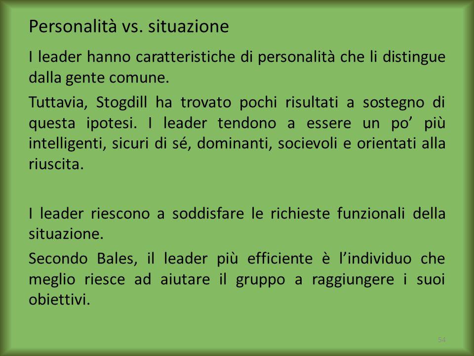 Personalità vs. situazione