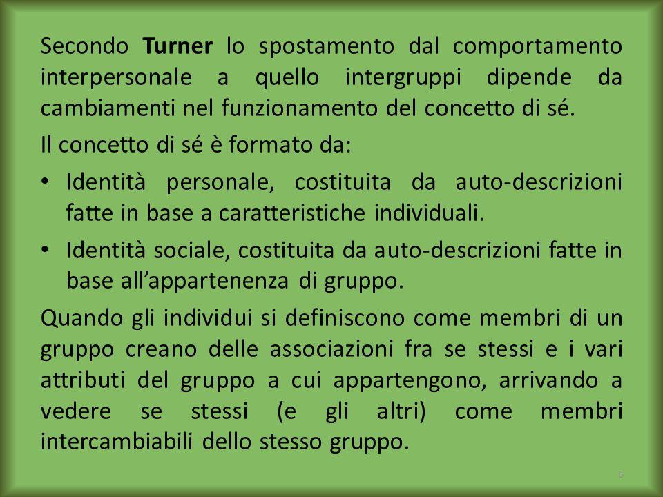 Secondo Turner lo spostamento dal comportamento interpersonale a quello intergruppi dipende da cambiamenti nel funzionamento del concetto di sé.