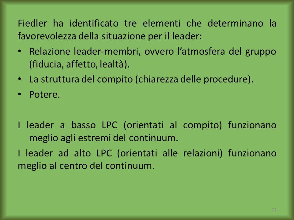 Fiedler ha identificato tre elementi che determinano la favorevolezza della situazione per il leader: