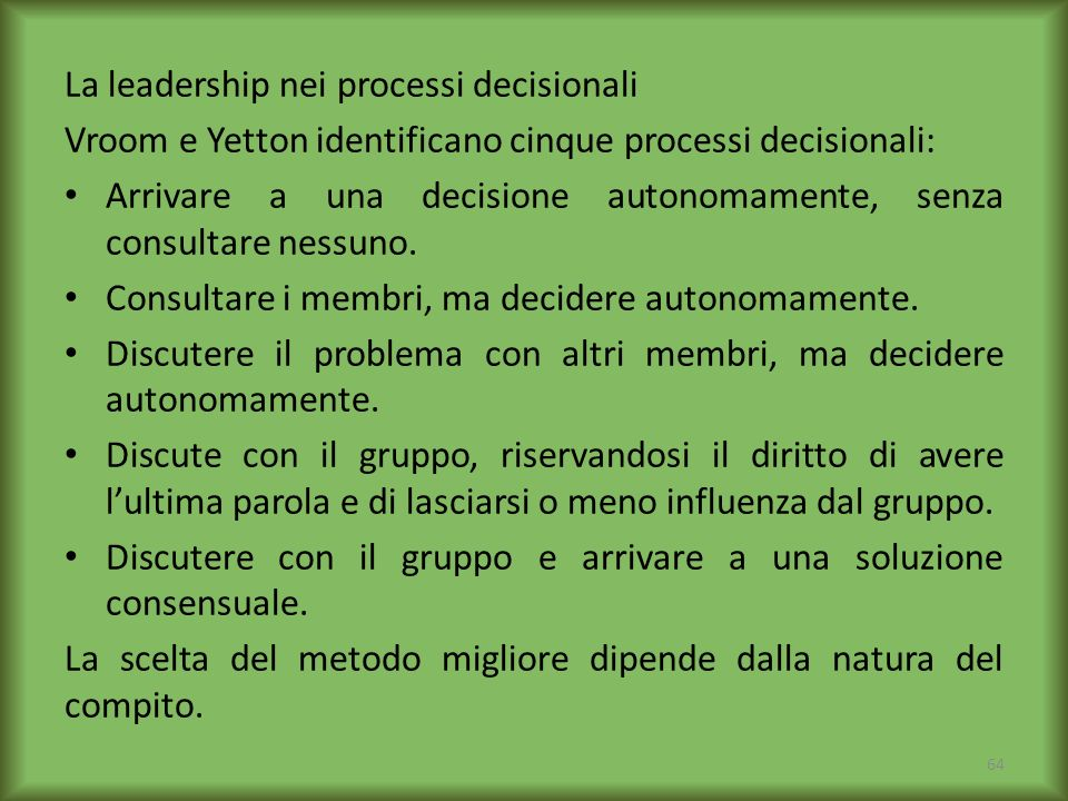 La leadership nei processi decisionali