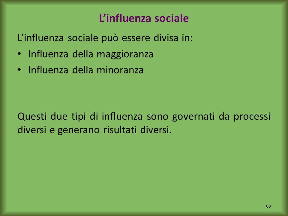 L'influenza sociale L'influenza sociale può essere divisa in: