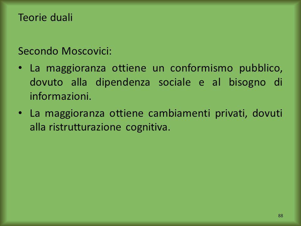 Teorie duali Secondo Moscovici: La maggioranza ottiene un conformismo pubblico, dovuto alla dipendenza sociale e al bisogno di informazioni.