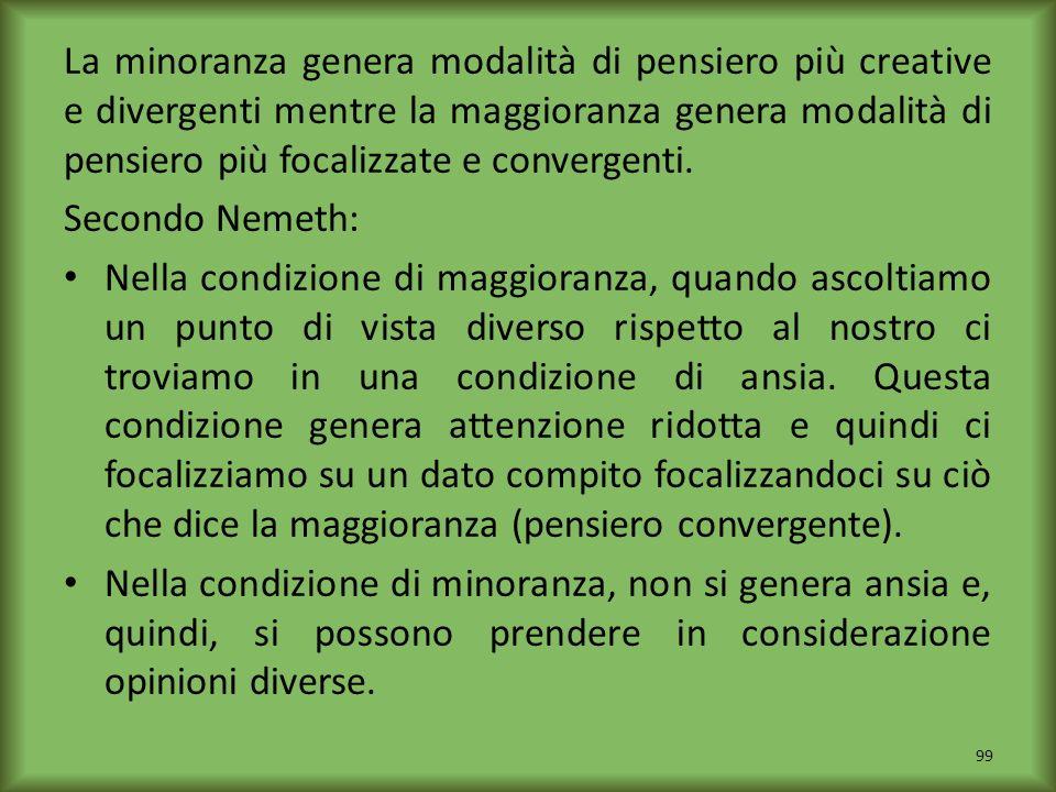 La minoranza genera modalità di pensiero più creative e divergenti mentre la maggioranza genera modalità di pensiero più focalizzate e convergenti.
