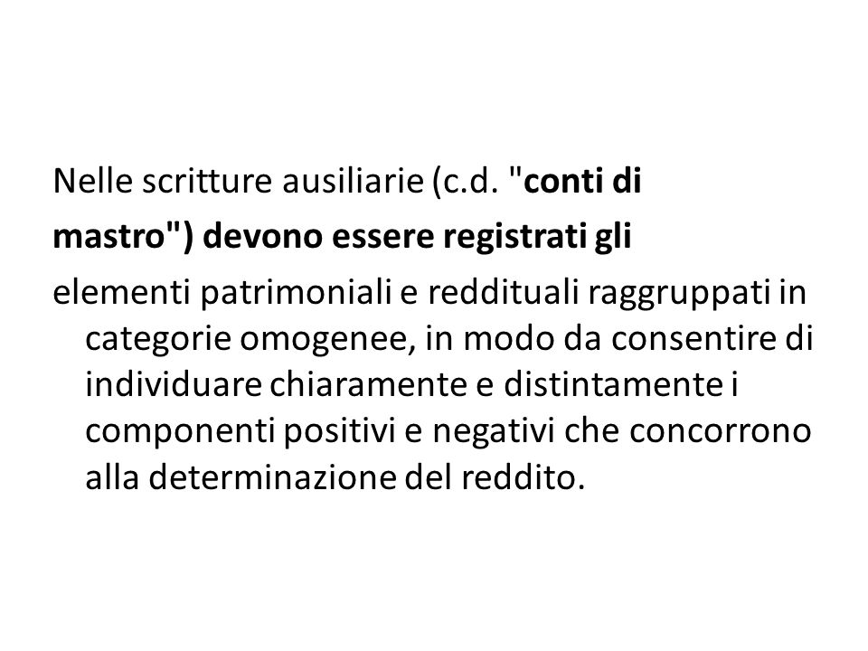 Nelle scritture ausiliarie (c. d