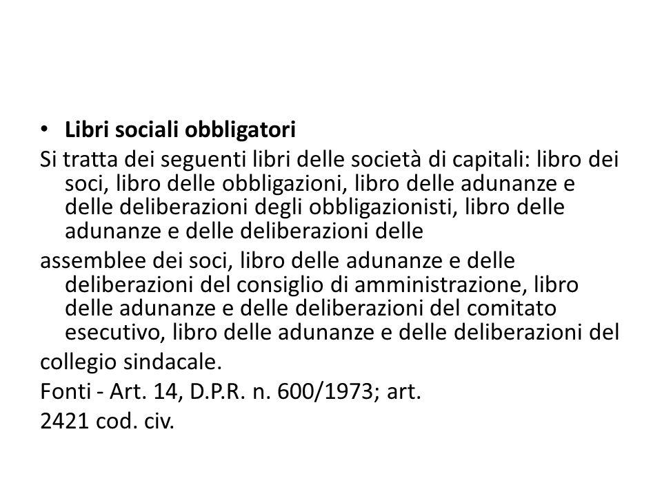 Libri sociali obbligatori