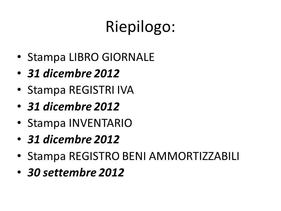 Riepilogo: Stampa LIBRO GIORNALE 31 dicembre 2012 Stampa REGISTRI IVA