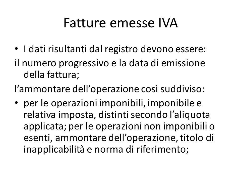 Fatture emesse IVA I dati risultanti dal registro devono essere: