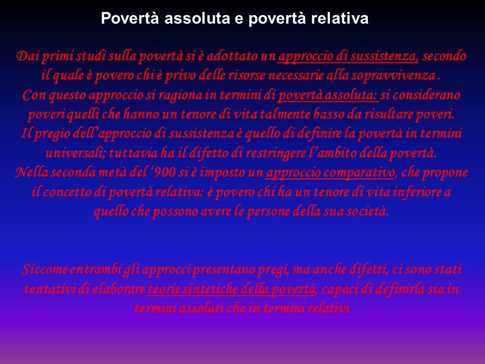 Povertà assoluta e povertà relativa