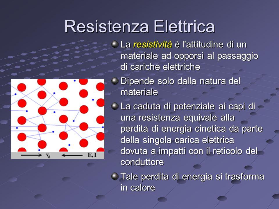 Resistenza Elettrica La resistività è l attitudine di un materiale ad opporsi al passaggio di cariche elettriche.