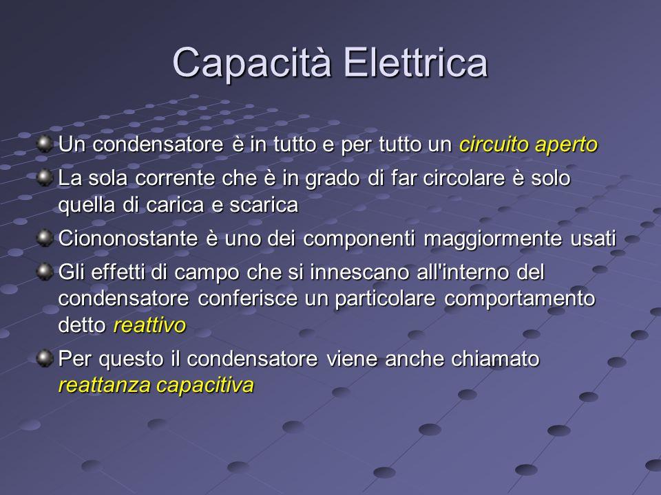 Capacità Elettrica Un condensatore è in tutto e per tutto un circuito aperto.