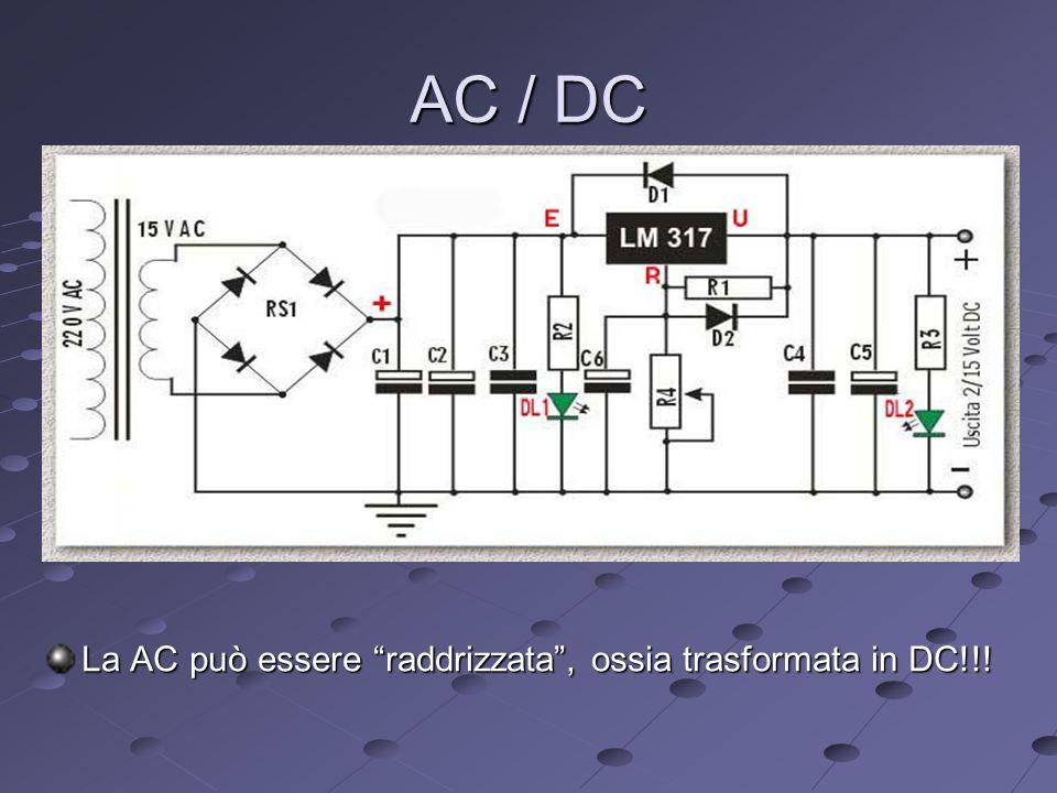 AC / DC La AC può essere raddrizzata , ossia trasformata in DC!!!