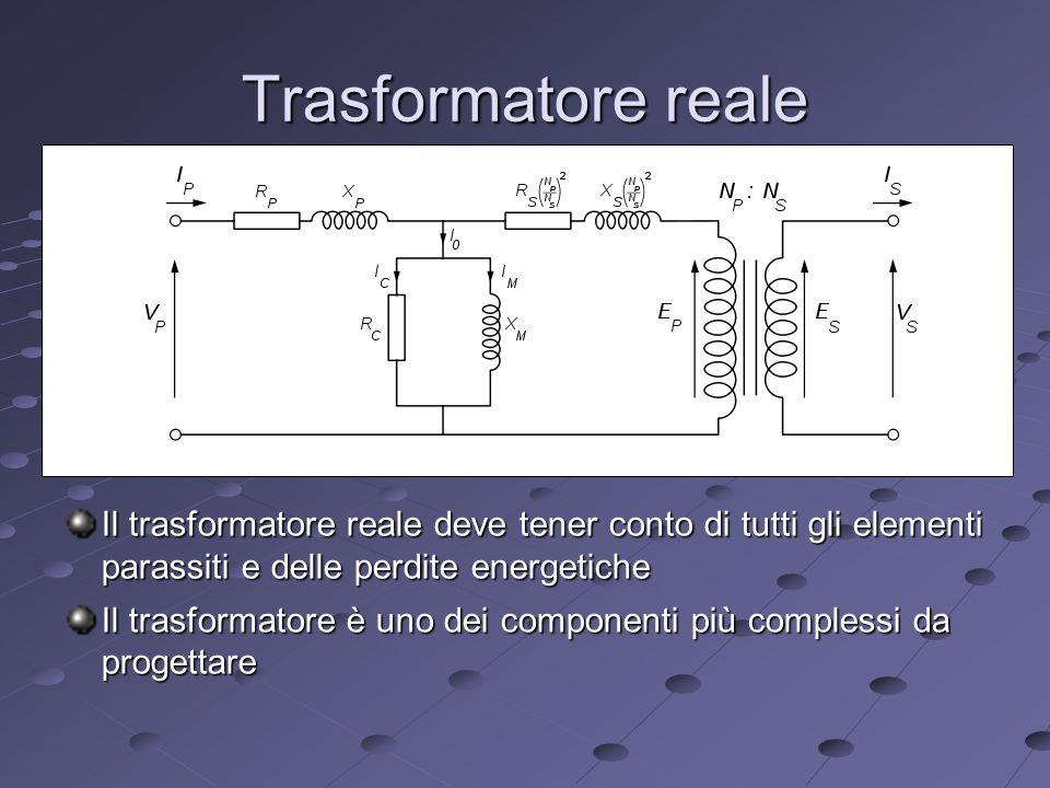 Trasformatore reale Il trasformatore reale deve tener conto di tutti gli elementi parassiti e delle perdite energetiche.
