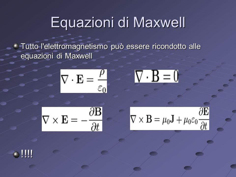 Equazioni di Maxwell Tutto l elettromagnetismo può essere ricondotto alle equazioni di Maxwell.
