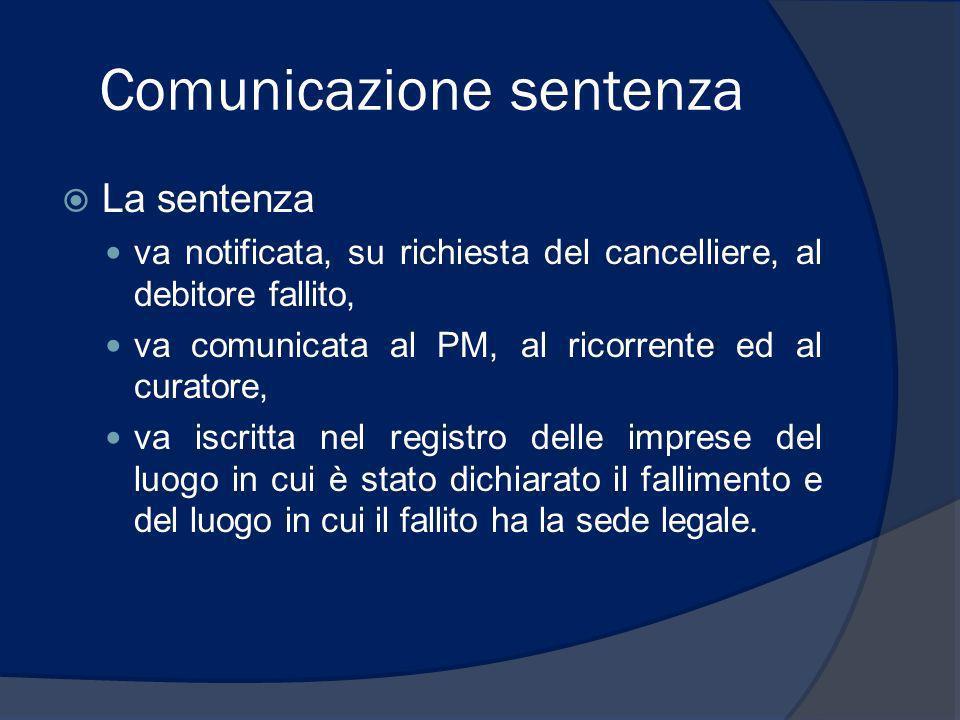Comunicazione sentenza