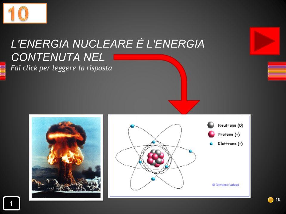L ENERGIA NUCLEARE È L ENERGIA CONTENUTA NEL Fai click per leggere la risposta