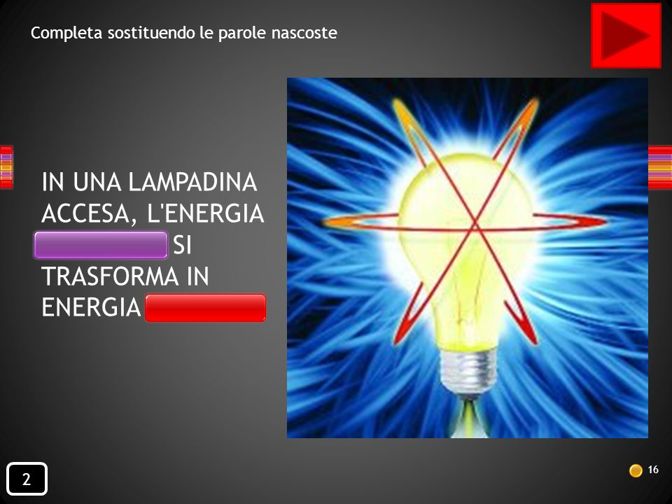 IN UNA LAMPADINA ACCESA, L ENERGIA ELETTRICA SI TRASFORMA IN