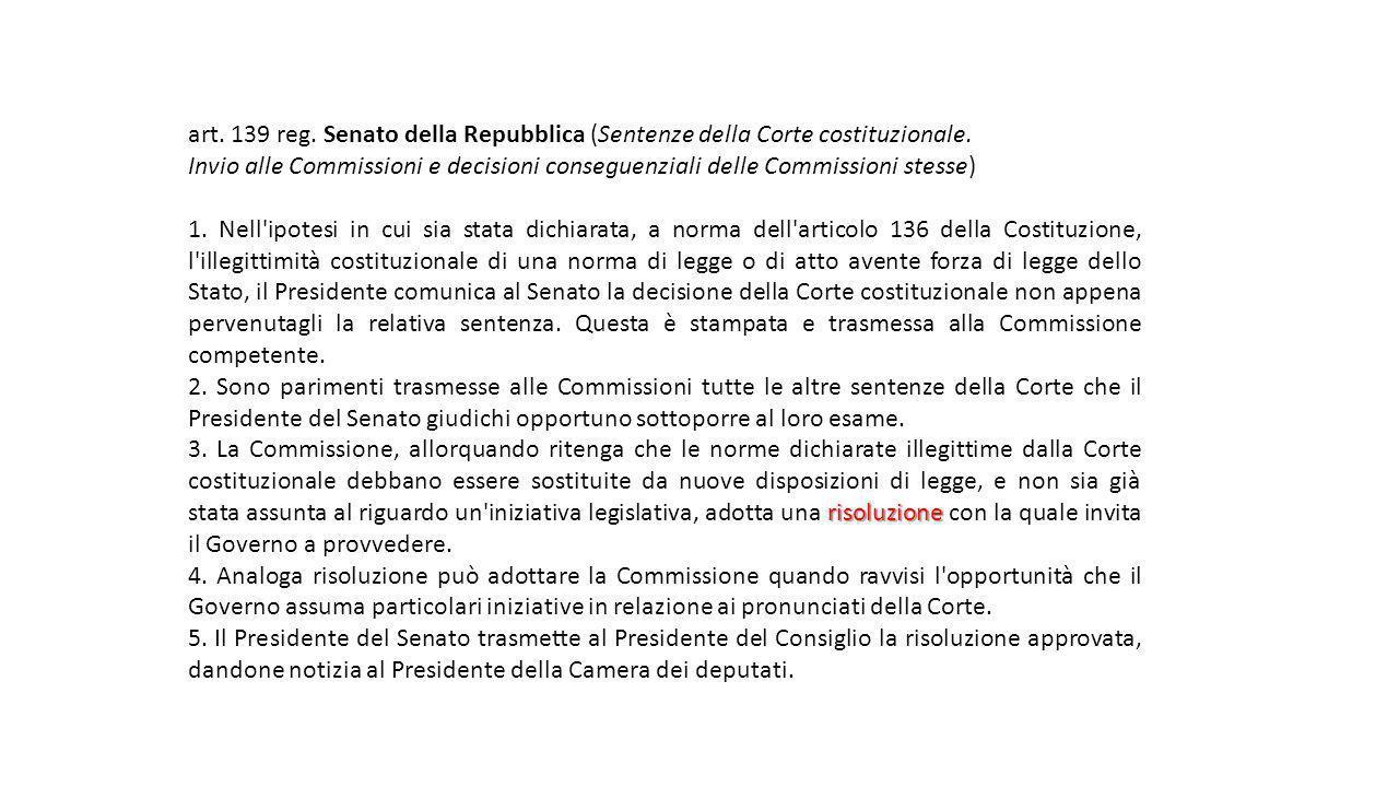 art. 139 reg. Senato della Repubblica (Sentenze della Corte costituzionale.