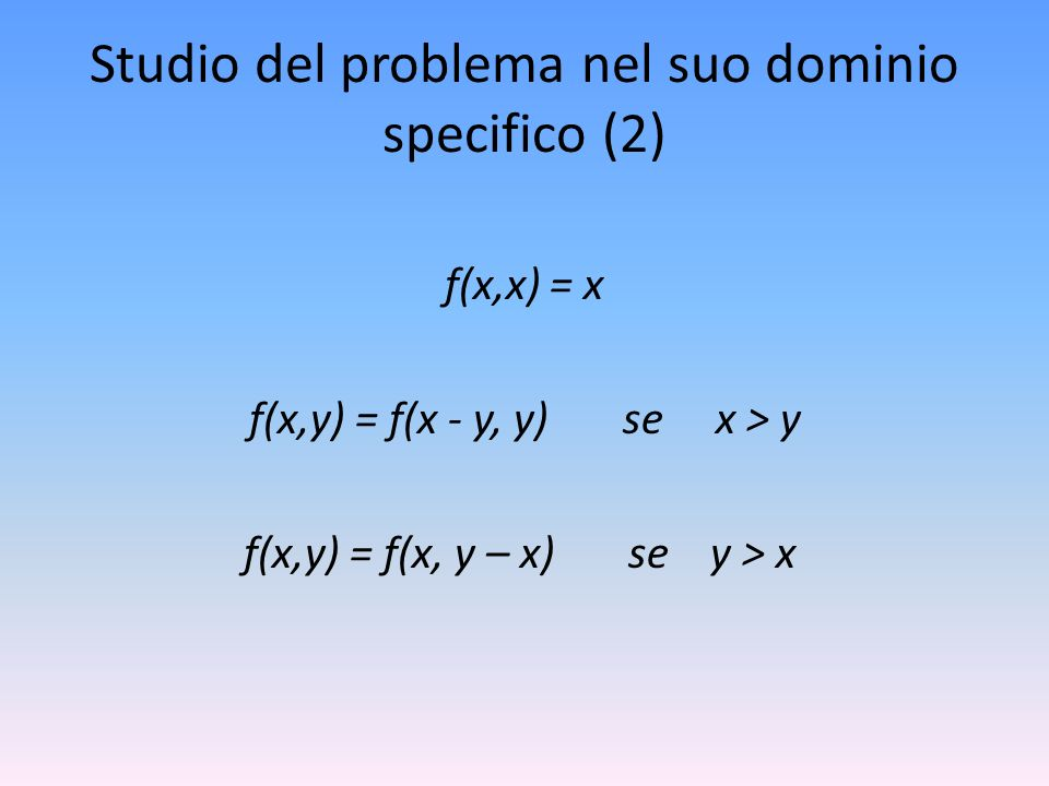 Studio del problema nel suo dominio specifico (2)