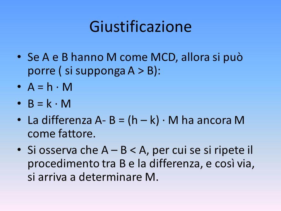 Giustificazione Se A e B hanno M come MCD, allora si può porre ( si supponga A > B): A = h · M. B = k · M.