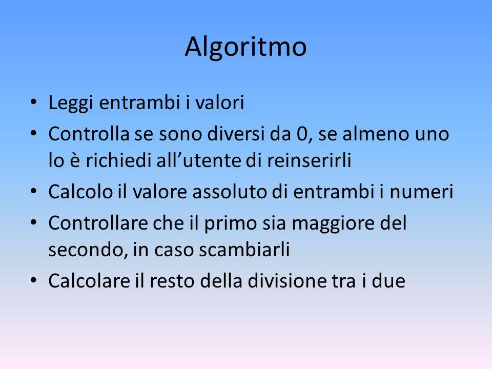 Algoritmo Leggi entrambi i valori