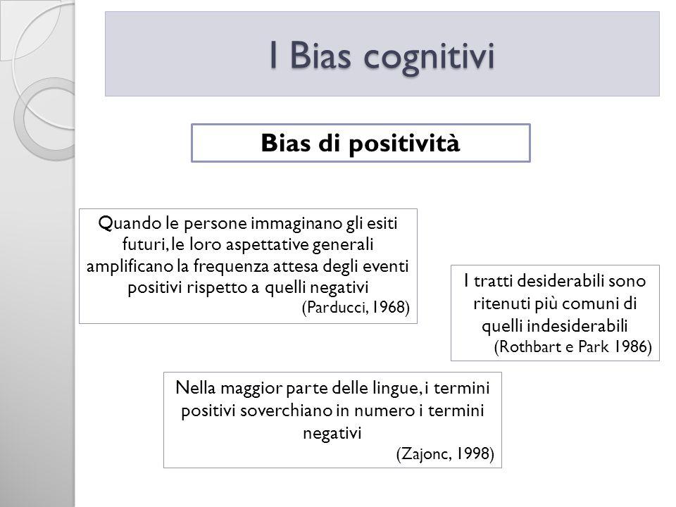 I Bias cognitivi Bias di positività