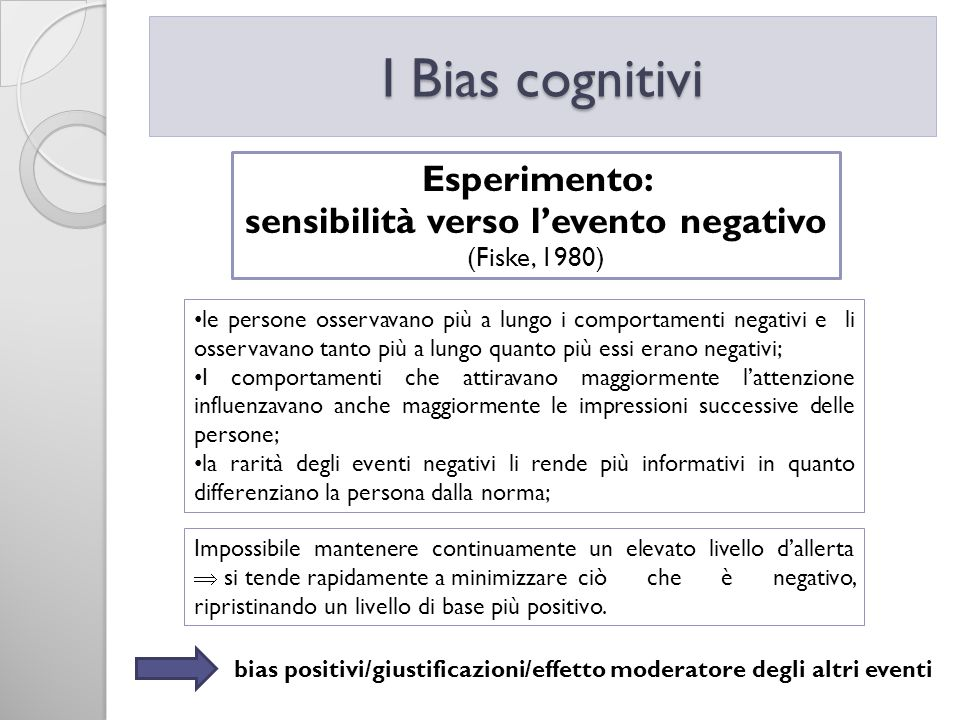 sensibilità verso l'evento negativo (Fiske, 1980)