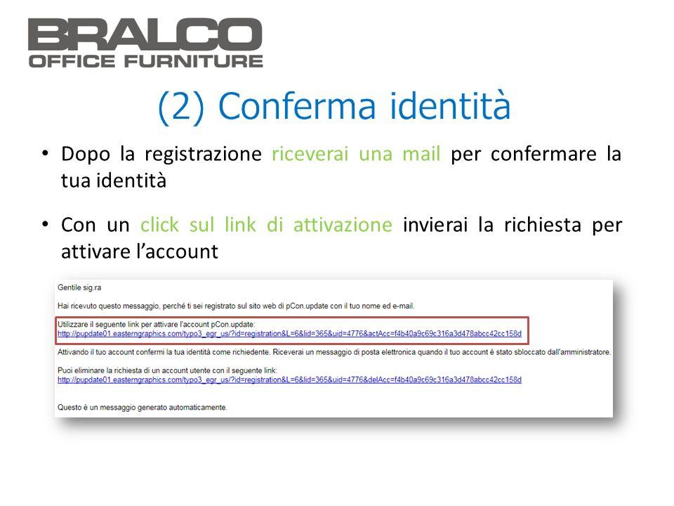 (2) Conferma identità Dopo la registrazione riceverai una mail per confermare la tua identità.