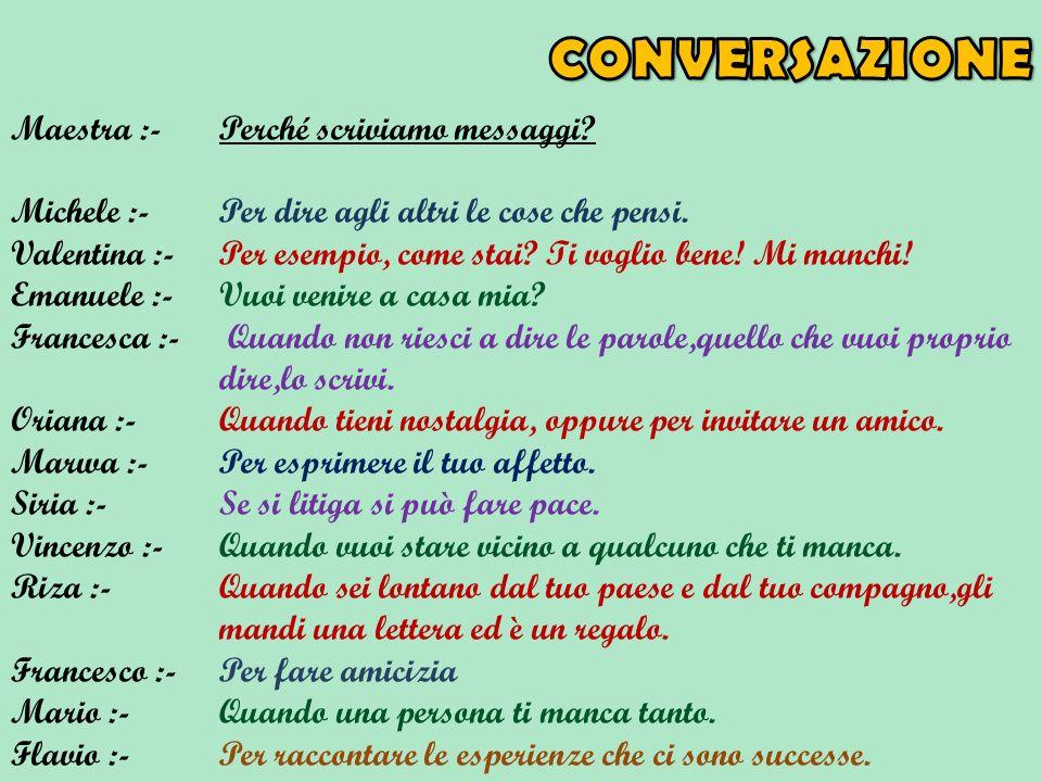CONVERSAZIONE Maestra :- Perché scriviamo messaggi