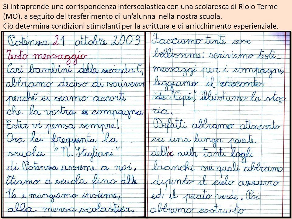 Si intraprende una corrispondenza interscolastica con una scolaresca di Riolo Terme (MO), a seguito del trasferimento di un'alunna nella nostra scuola.