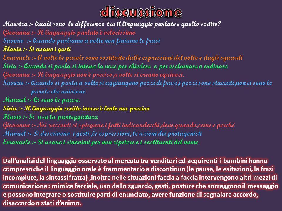 discussione Maestra :- Quali sono le differenze tra il linguaggio parlato e quello scritto Giovanna :- Il linguaggio parlato è velocissimo.