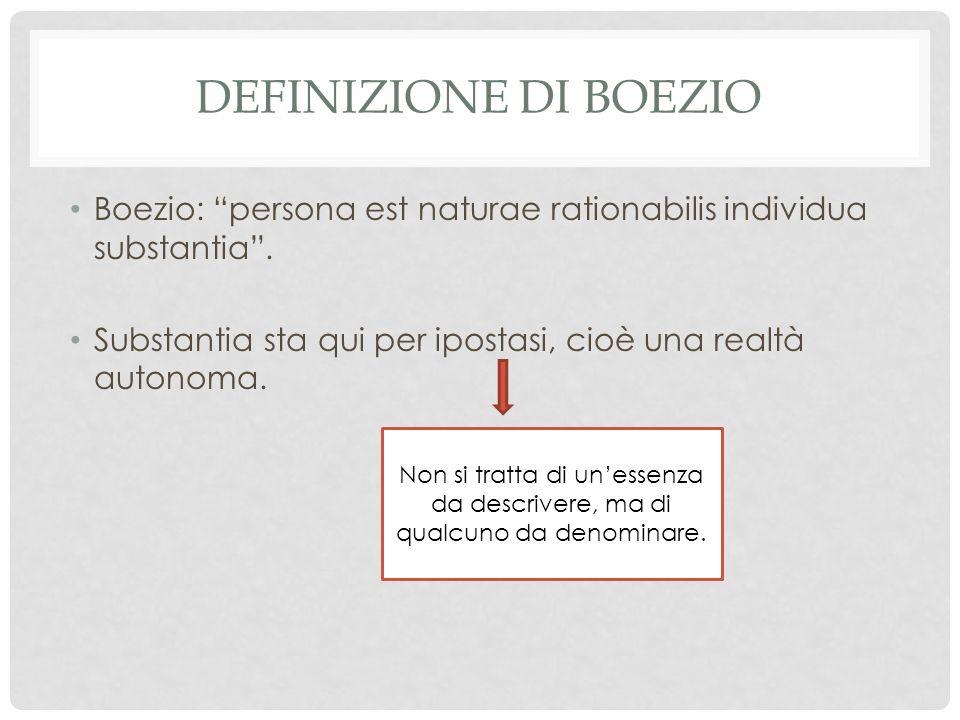 Definizione di Boezio Boezio: persona est naturae rationabilis individua substantia . Substantia sta qui per ipostasi, cioè una realtà autonoma.
