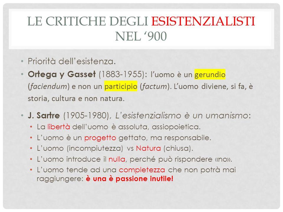 Le critiche degli esistenzialisti nel '900