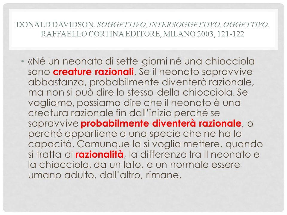 Donald Davidson, Soggettivo, intersoggettivo, oggettivo, Raffaello Cortina Editore, Milano 2003, 121-122