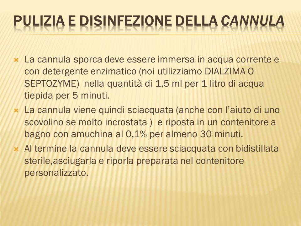 Pulizia e disinfezione della cannula