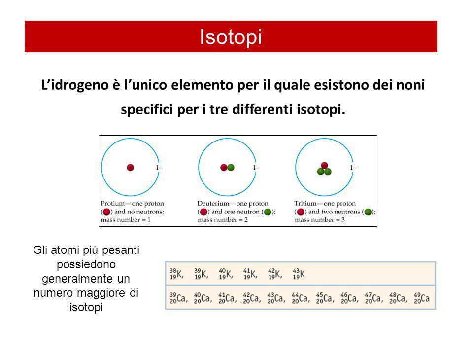 Isotopi L'idrogeno è l'unico elemento per il quale esistono dei noni specifici per i tre differenti isotopi.