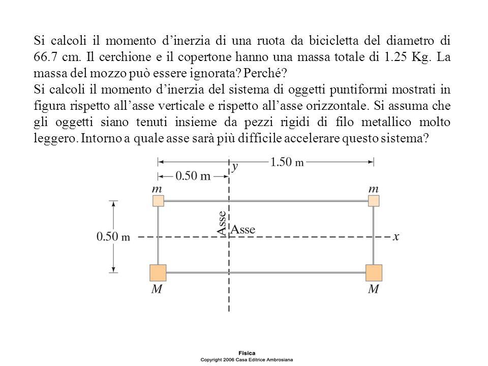 Si calcoli il momento d'inerzia di una ruota da bicicletta del diametro di 66.7 cm. Il cerchione e il copertone hanno una massa totale di 1.25 Kg. La massa del mozzo può essere ignorata Perché