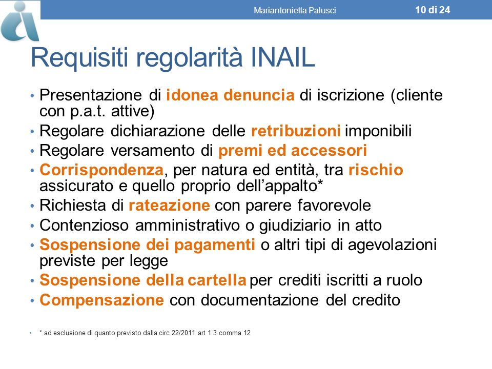 Requisiti regolarità INAIL