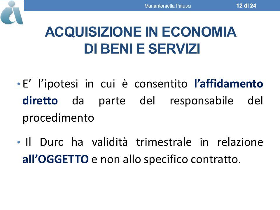 Acquisizione in economia di beni e servizi