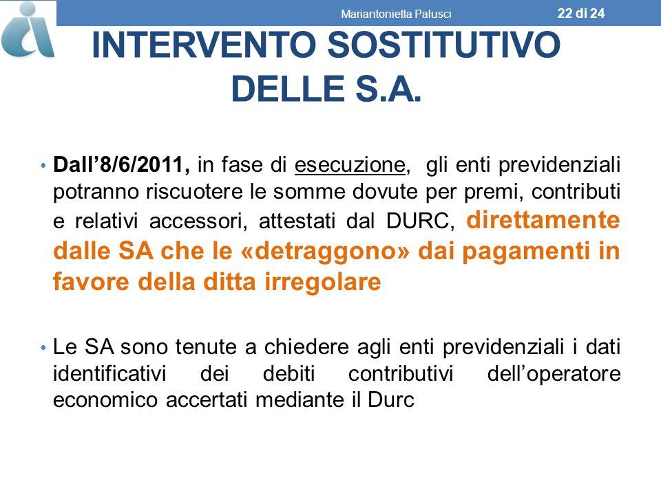 INTERVENTO SOSTITUTIVO DELLE S.A.