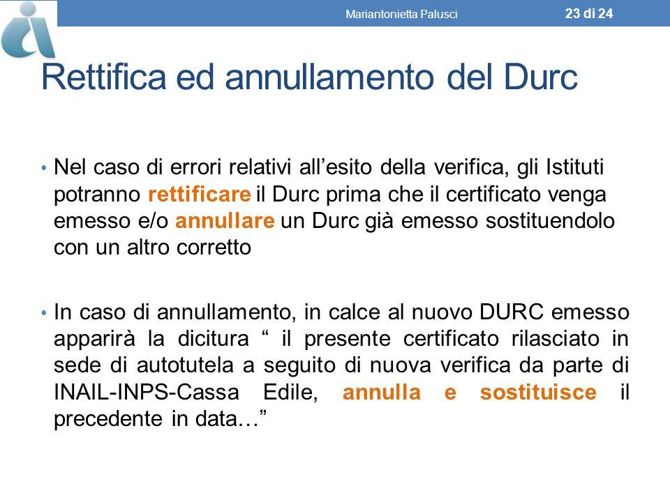 Rettifica ed annullamento del Durc