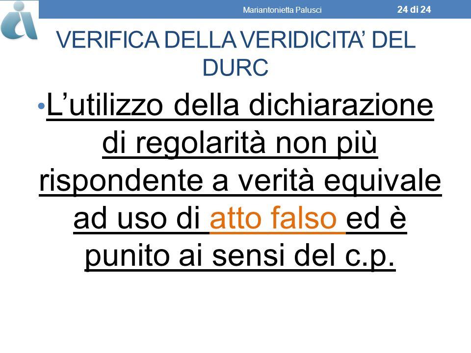 VERIFICA DELLA VERIDICITA' DEL DURC
