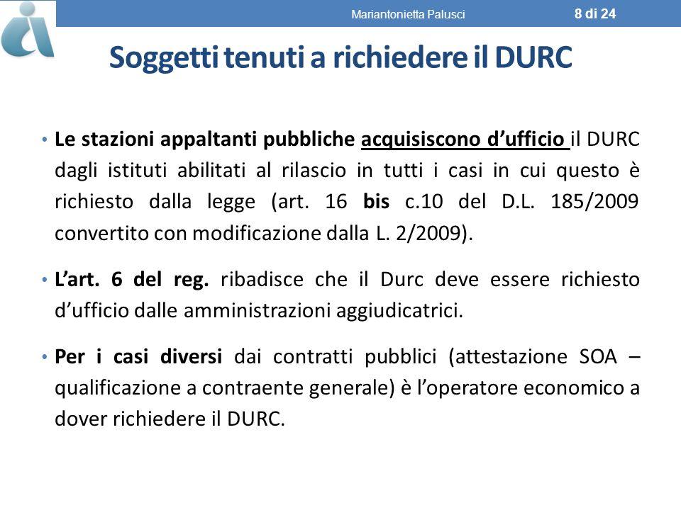 Soggetti tenuti a richiedere il DURC