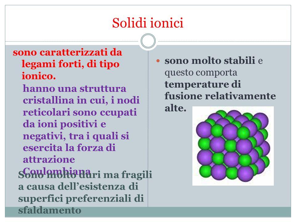 Solidi ionici sono caratterizzati da legami forti, di tipo ionico.