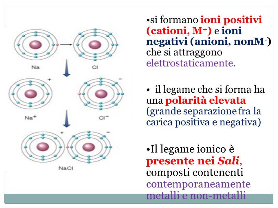 si formano ioni positivi (cationi, M+) e ioni negativi (anioni, nonM-) che si attraggono elettrostaticamente.