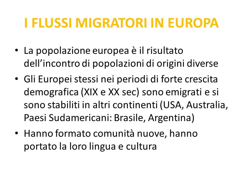 I FLUSSI MIGRATORI IN EUROPA